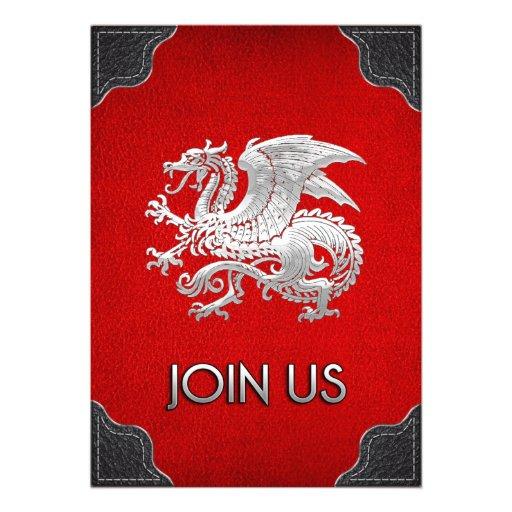 [100] Icelandic Dragon, Landvættir [Silver] Personalized Invites