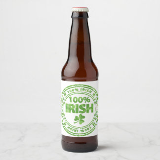 100% Irish Beer Beer Bottle Label