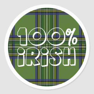 100% Irish Plaid Round Sticker