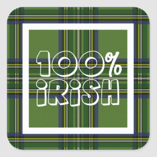 100% Irish Plaid Square Sticker
