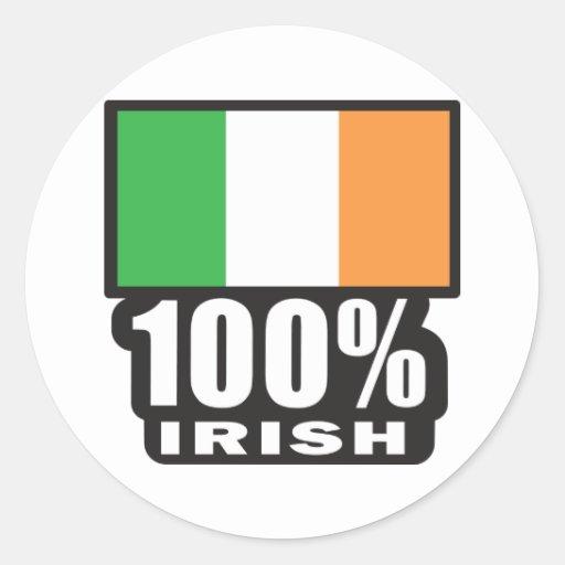 100% Irish/St. Patrick's Day Round Stickers