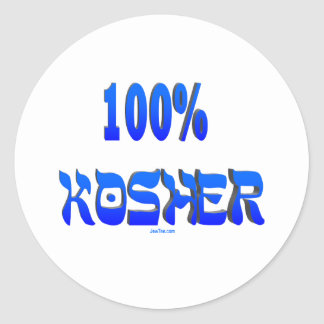100% kosher Jewish gifts Round Sticker