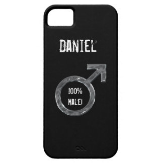 100% Male!-Male Symbol/Faux Metal+Name iPhone 5 Cover