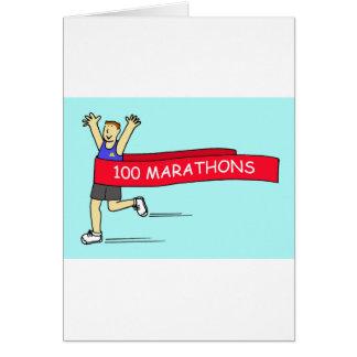 100 marathon congratulations for a male. card