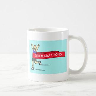 100 marathon congratulations for a male. coffee mug