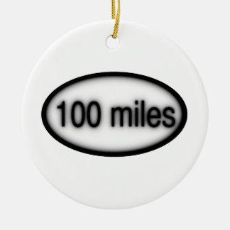100 miles ceramic ornament