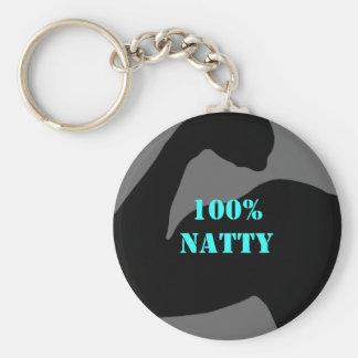 100% Natty Body Bicep Basic Round Button Keychain