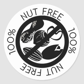 100% Nut Free No Nuts Simple Black and White Round Sticker