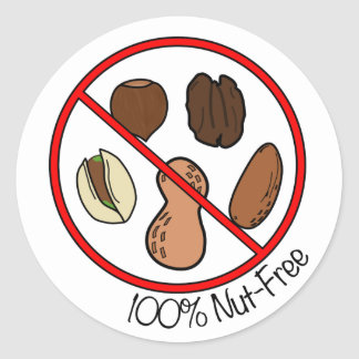 100% Nut Free (Tree nuts & Peanuts) Round Sticker