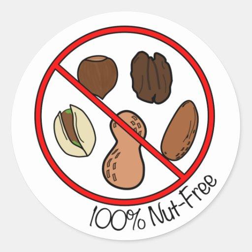 100% Nut Free (Tree nuts & Peanuts) Stickers