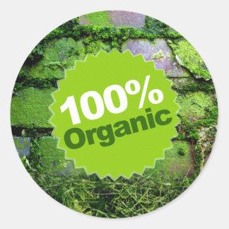 100% Organic Classic Round Sticker
