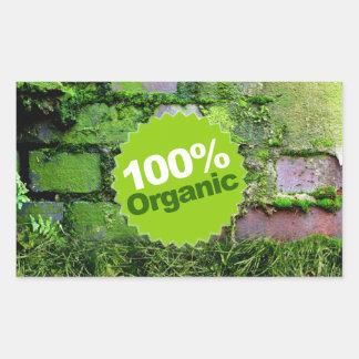 100% Organic Rectangular Stickers