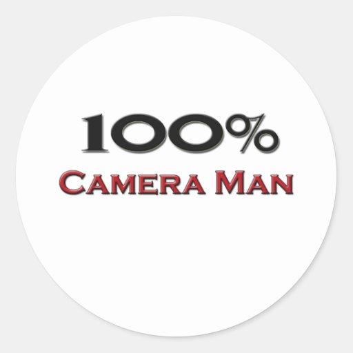 100 Percent Camera Man Round Sticker