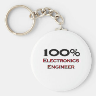 100 Percent Electronics Engineer Basic Round Button Keychain