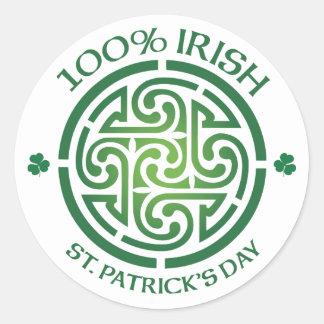 100 Percent Irish Celtic Medallion Round Sticker