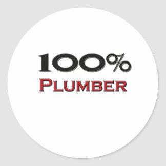 100 Percent Plumber Round Sticker