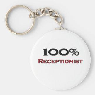 100 Percent Receptionist Keychain