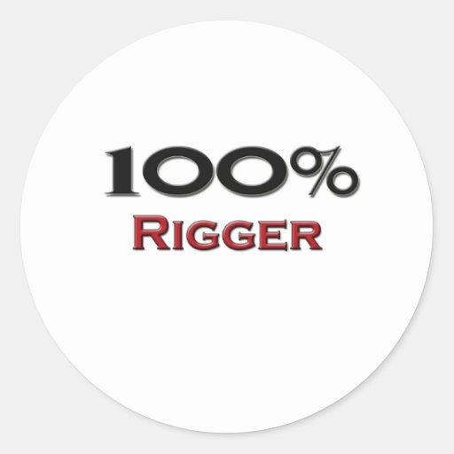 100 Percent Rigger Round Sticker
