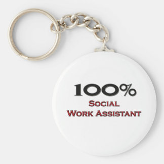 100 Percent Social Work Assistant Basic Round Button Keychain