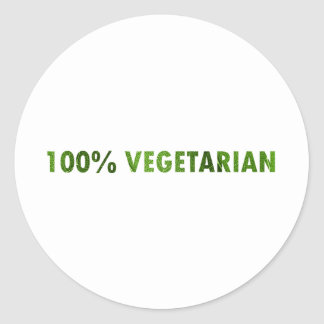 100 PERCENT VEGETARIAN ROUND STICKER
