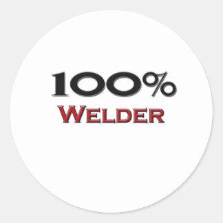 100 Percent Welder Round Sticker