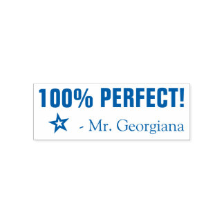 """100% PERFECT!"" Teacher Rubber Stamp"