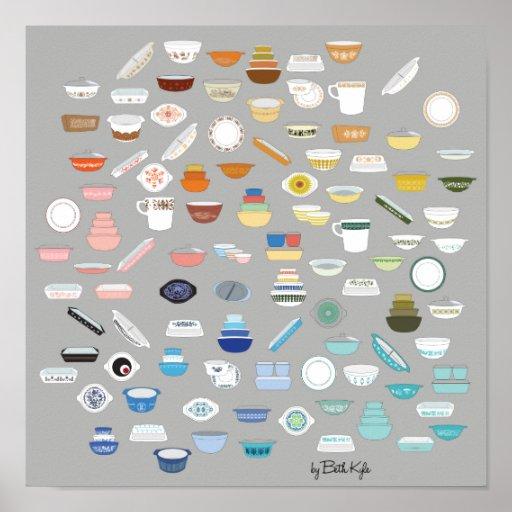 100 Pieces of Pyrex - Dark Grey Poster