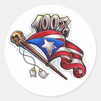 100% puertorican round sticker