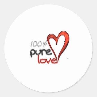 100% pure love round stickers