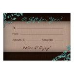 /100 Salon Gift Card Spa Linen Floral Brown Blue Business Cards
