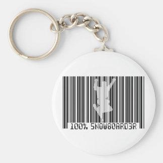 100% SNOWBOARDER 2 black barcode Keychain