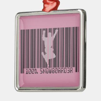 100% SNOWBOARDER 2 black barcode Silver-Colored Square Ornament