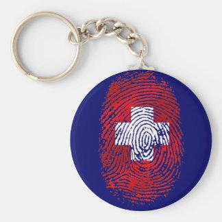 100% Swiss DNA fingerprint Switzerland flag gifts Keychain