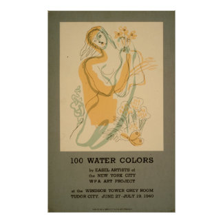 100 Watercolors Exhibit New York City 1940 WPA Poster