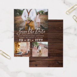 Photo collage business cards business card printing zazzle ca 100 x rustic save the dates photo collage business card colourmoves