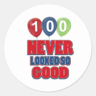 100 year old birthday designs round stickers