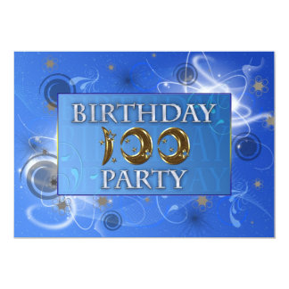 100th Abstract lights Birthday party invitation