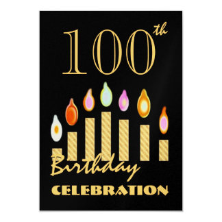 100th and Over Birthday Gold Party Invitation
