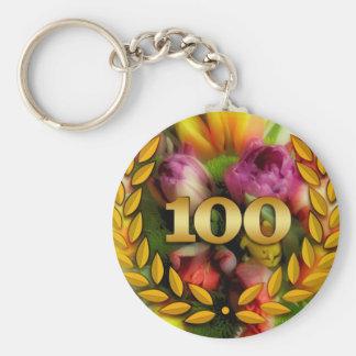 100th anniversary basic round button keychain