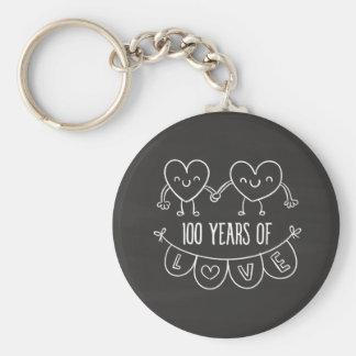 100th Anniversary Gift Chalk Hearts Basic Round Button Keychain