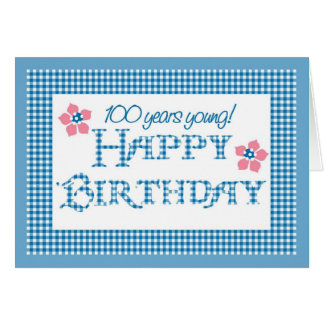 100th Birthday, Blue Check Gingham Pattern Card