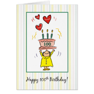 100th Birthday Cake and Hearts for Woman Card