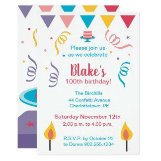 100th Birthday Cake Invite