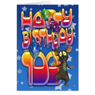 100th Birthday Card cute with little mouse