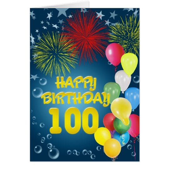 100th Birthday card with fireworks and balloons