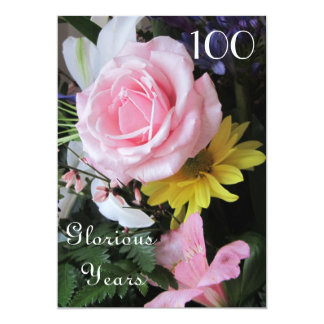 100th Birthday Celebration!-Pink Rose Bouquet Card