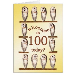 100th birthday, Curious owls card. Card