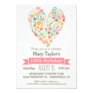 100th Birthday, Cute Floral Heart Birthday Party Card