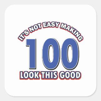100th birthday designs square sticker