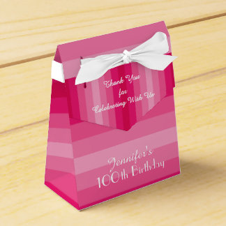100th Birthday Favor Box, Pink Stripes Favor Box